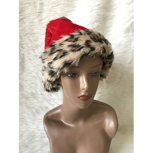 "be Jolly Faux Fur Animal Print Santa Red Hat 17"""